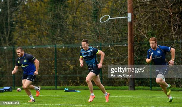 Dublin Ireland 20 November 2017 Sean Cronin left Rory O'Loughlin centre and Peadar Timmins during Leinster rugby squad training at Leinster Rugby...