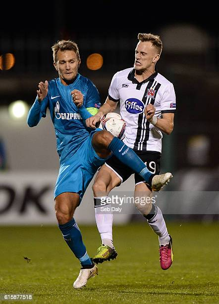 Dublin Ireland 20 October 2016 Dean Shiels of Dundalk in action against Domenico Criscito of Zenit St Petersburg during the UEFA Europa League Group...