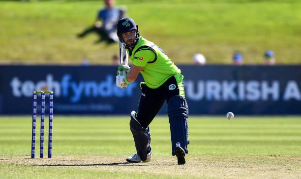 Dublin Ireland 20 September 2019 Andrew Balbirnie of Ireland bats during the T20 International Tri Series match between Ireland and Scotland at...