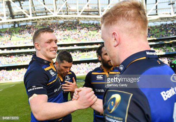 Dublin Ireland 21 April 2018 Dan Leavy left and James Tracy of Leinster following the European Rugby Champions Cup SemiFinal match between Leinster...