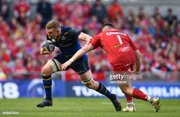 Dublin Ireland 21 April 2018 Dan Leavy of Leinster is tackled by Rob Evans of Scarlets during the European Rugby Champions Cup SemiFinal match...