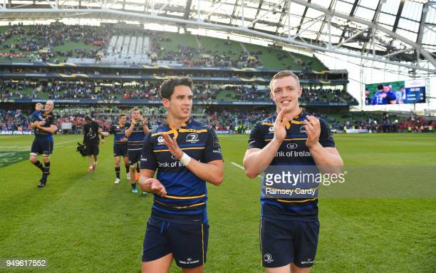 Dublin Ireland 21 April 2018 Joey Carbery left and Dan Leavy of Leinster celebrates following their victory in the European Rugby Champions Cup...