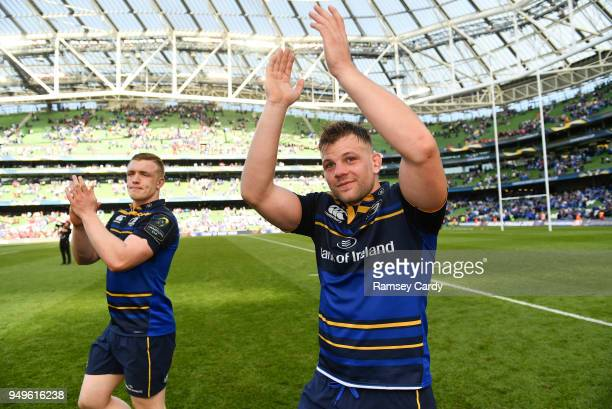 Dublin Ireland 21 April 2018 Jordi Murphy of Leinster celebrates following their victory in the European Rugby Champions Cup SemiFinal match between...
