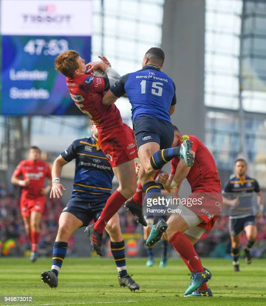Dublin Ireland 21 April 2018 Rhys Patchell of Scarlets in action against Rob Kearney of Leinster during the European Rugby Champions Cup SemiFinal...