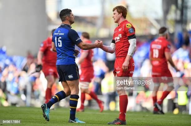 Dublin Ireland 21 April 2018 Rob Kearney of Leinster and Rhys Patchell of Scarlets shake hands following the European Rugby Champions Cup SemiFinal...