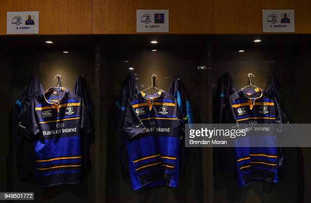 Dublin Ireland 21 April 2018 The jersey of the Leinster back row from left Scott Fardy Dan Leavy and Jordi Murphy in their dressing room prior to the...