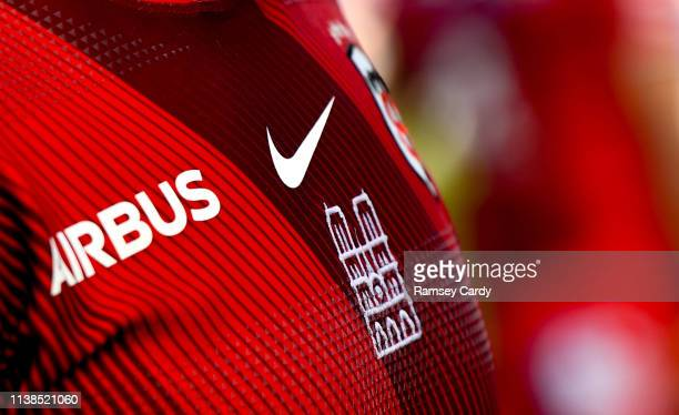 Dublin Ireland 21 April 2019 A detailed view of the Toulouse jersey featuring the Notre Dame during the Heineken Champions Cup SemiFinal match...