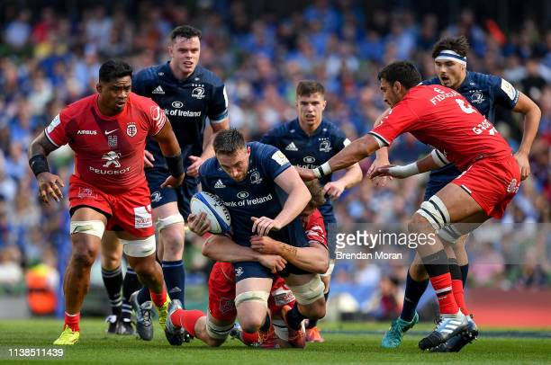 Dublin Ireland 21 April 2019 Jack Conan of Leinster is tackled by Richie Gray and Joe Tekori of Toulouse during the Heineken Champions Cup SemiFinal...