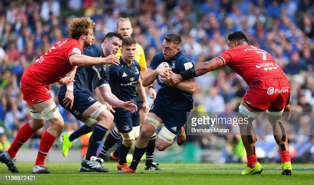 Dublin Ireland 21 April 2019 Jack Conan of Leinster is tackled by Richie Gray left and Joe Tekori of Toulouse during the Heineken Champions Cup...