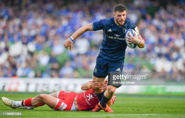 Dublin Ireland 21 April 2019 Robbie Henshaw of Leinster is tackled by Romain Ntamack of Toulouse during the Heineken Champions Cup SemiFinal match...