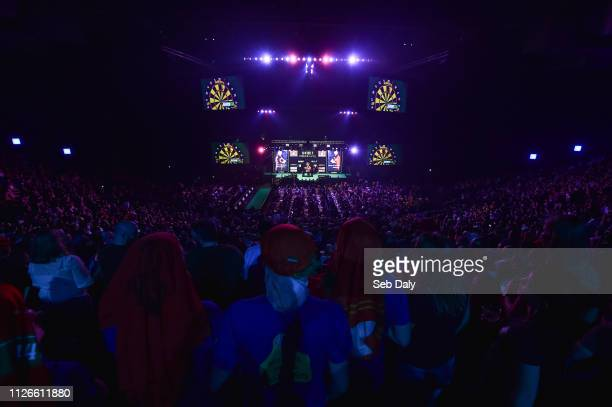 Dublin , Ireland - 21 February 2019; A general view during the Premier League Darts Night Three match between Mensur Suljovic and Raymond van...