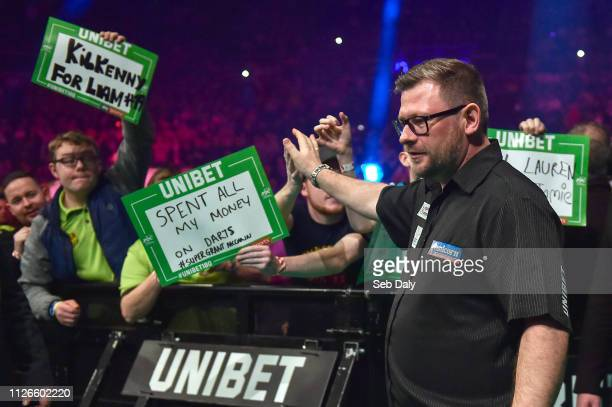 Dublin , Ireland - 21 February 2019; James Wade makes his way to the stage ahead of his Premier League Darts Night Three match against Gerwyn Price...