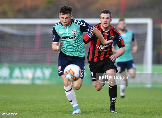 Dublin Ireland 21 July 2017 Conor McDermott of Derry City in action against Ciaran O'Connor of Bohemians during the SSE Airtricity League Premier...