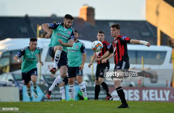 Dublin Ireland 21 July 2017 Ian Morris of Bohemians in action against Aaron Barry of Derry City during the SSE Airtricity League Premier Division...