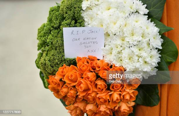 Dublin Ireland 21 July 2020 A view of a wreath at the Walkinstown Roundabout in Dublin where Republic of Ireland supporters gathered as a mark of...