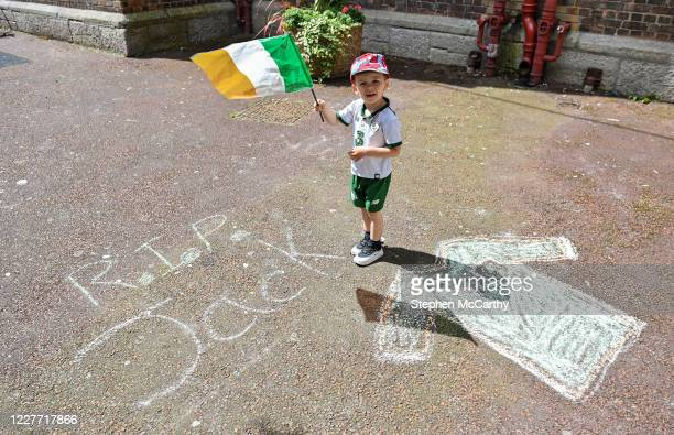 Dublin Ireland 21 July 2020 Conor Carroll age 3 a resident of Iveagh Trust Kevin Street in Dublin during a rememberance for Jack Charlton on the day...