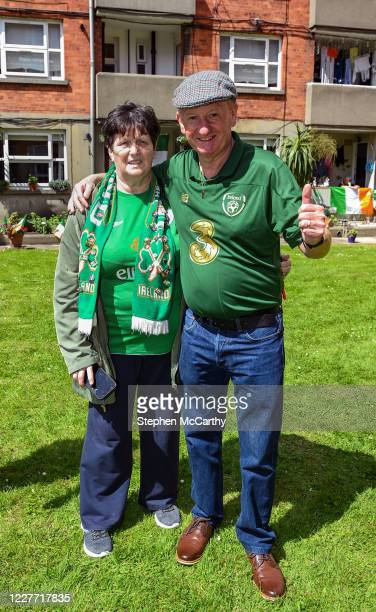 Dublin Ireland 21 July 2020 Davy Keogh and his wife Ester residents of Iveagh Trust Kevin Street in Dublin during a rememberance for Jack Charlton on...