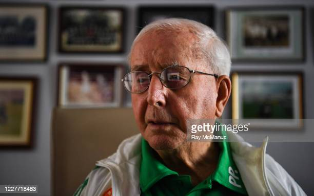 Dublin Ireland 21 July 2020 Former Republic of Ireland squad kit manager Charlie O'Leary watches the broadcast of Jack Charltons funeral service in...