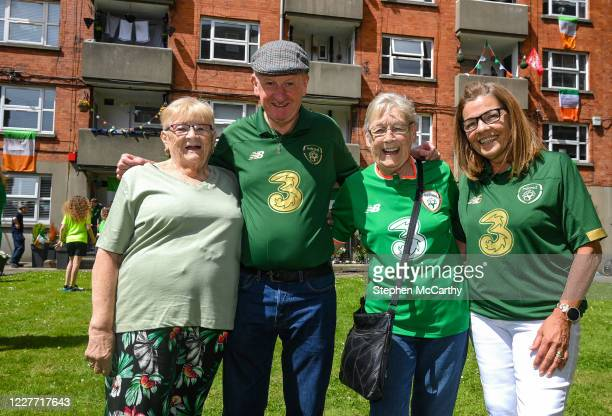 Dublin Ireland 21 July 2020 May Gilligan Davy Keogh Theresa McCarthy and Angela Reddan residents of Iveagh Trust Kevin Street in Dublin during a...