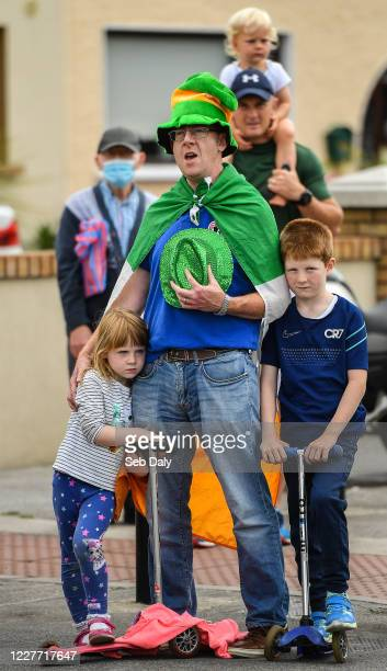 Dublin Ireland 21 July 2020 Republic of Ireland supporter Dan Clifford from Crumlin with his two children Sarah age 4 and Ben age 8 gathered...