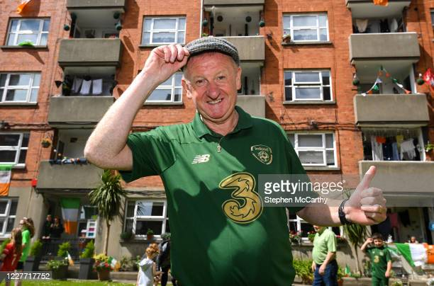 Dublin Ireland 21 July 2020 Republic of Ireland supporter Davy Keogh at Iveagh Trust Kevin Street in Dublin remembers Jack Charlton on the day of his...