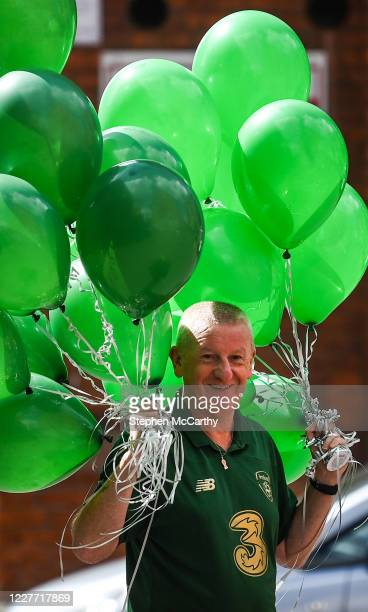 Dublin Ireland 21 July 2020 Republic of Ireland supporter Davy Keogh arrives with ballons at The Iveagh Trust Kevin Street in Dublin during a...