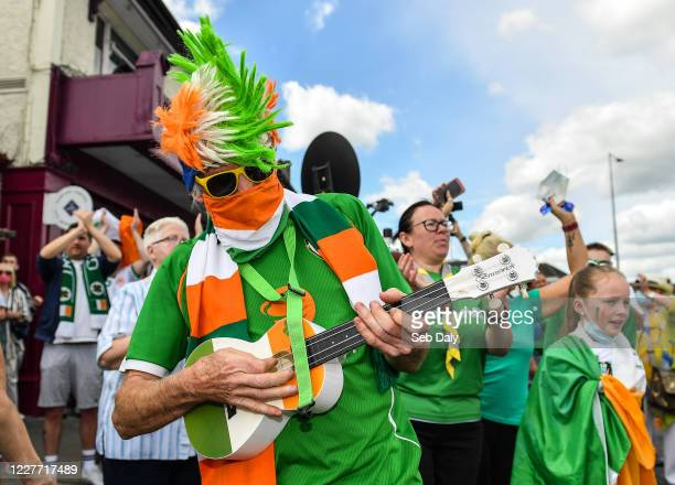 Dublin Ireland 21 July 2020 Republic of Ireland supporter Peter Gannon from Harolds Cross in Dublin gathered alongside fellow supporters at the...