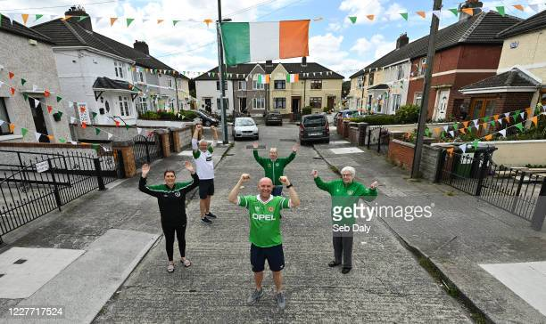 Dublin Ireland 21 July 2020 Republic of Ireland supporters from left Edel Foley Declan Armstrong Paul Martyn Marie Early and Chrissie Dardis from...