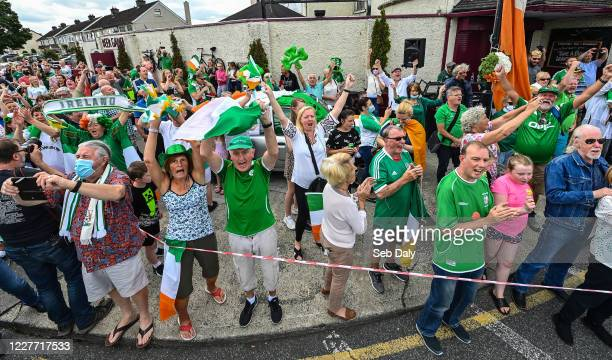 Dublin Ireland 21 July 2020 Republic of Ireland supporters gather at the Walkinstown Roundabout in Dublin to celebrate the life of Jack Charlton on...