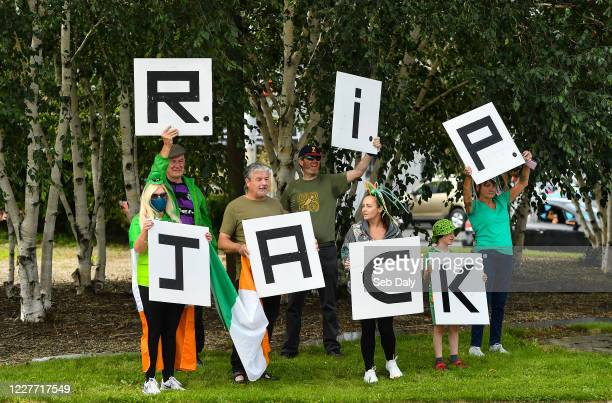 Dublin Ireland 21 July 2020 Republic of Ireland supporters gather at the Walkinstown Roundabout in Dublin as a mark of respect to the passing of...