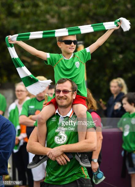 Dublin Ireland 21 July 2020 Republic of Ireland supporters Steven age 8 and Eoin Best from Walkinstown gathered alongside fellow supporters at the...