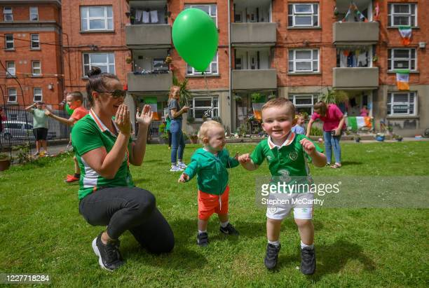 Dublin Ireland 21 July 2020 Residents at The Iveagh Trust Kevin Street in Dublin from left Kristin Hawthorne Reid with her son Max and fellow Iveagh...