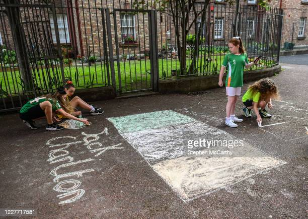 Dublin Ireland 21 July 2020 Young residents at The Iveagh Trust Kevin Street in Dublin during a rememberance for Jack Charlton on the day of his...