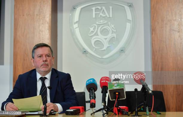 Dublin Ireland 21 June 2019 FAI President Donal Conway ahead of the Launch of Governance Review Group report at the Football Association of Ireland...