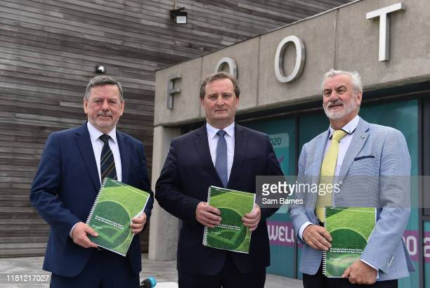 Dublin Ireland 21 June 2019 In attendance during the Launch of Governance Review Group report are from left FAI President Donal Conway Governance...