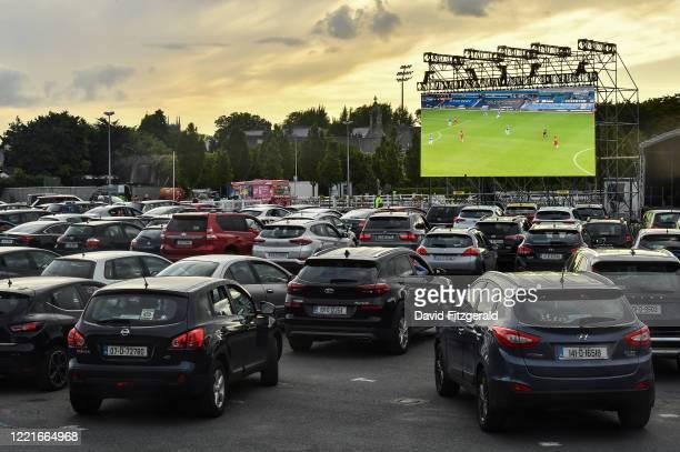 Dublin , Ireland - 21 June 2020; A general view of Irish soccer supporters watching the English Premier League merseyside derby match between Everton...
