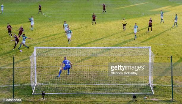 Dublin , Ireland - 21 June 2021; Georgie Kelly of Bohemians shoots to score his side's goal during the SSE Airtricity League Premier Division match...