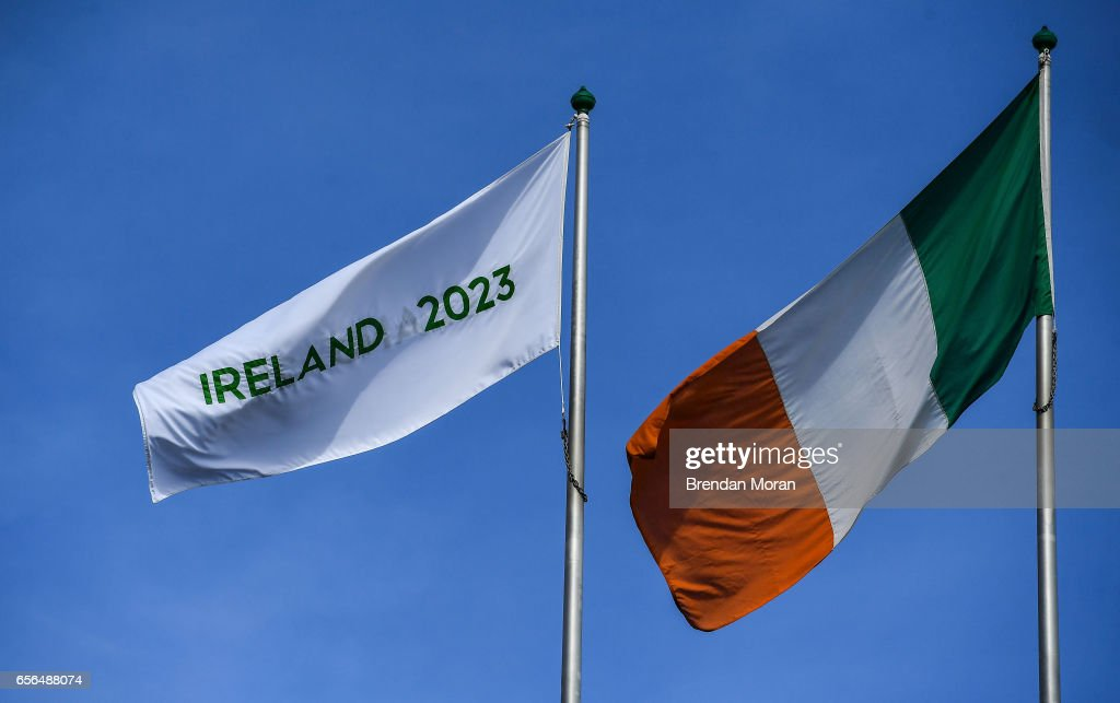 Dublin , Ireland - 21 March 2017; An Ireland 2023 flag flies alongside the Irish tricolour at Croke Park ahead of the World Rugby Technical Review Group visit as part of Ireland's bid to host the 2023 Rugby World Cup.
