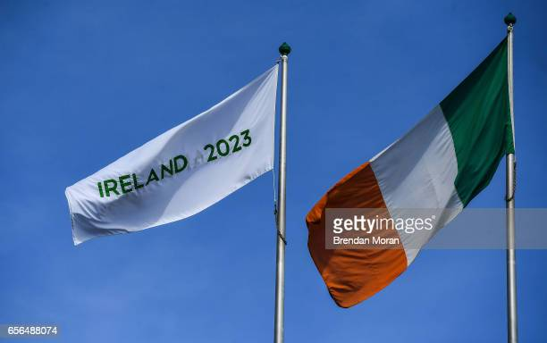 Dublin Ireland 21 March 2017 An Ireland 2023 flag flies alongside the Irish tricolour at Croke Park ahead of the World Rugby Technical Review Group...