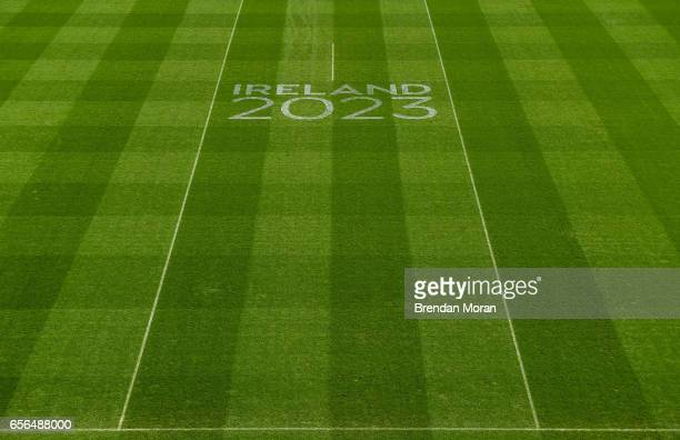 Dublin Ireland 21 March 2017 Ireland 2023 signage on the pitch at Croke Park ahead of the World Rugby Technical Review Group visit as part of...