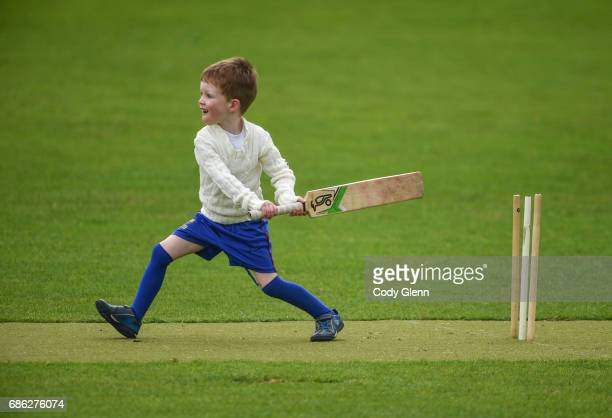 Dublin Ireland 21 May 2017 A young lad plays cricket outside the grounds during the One Day International match between Ireland and New Zealand at...