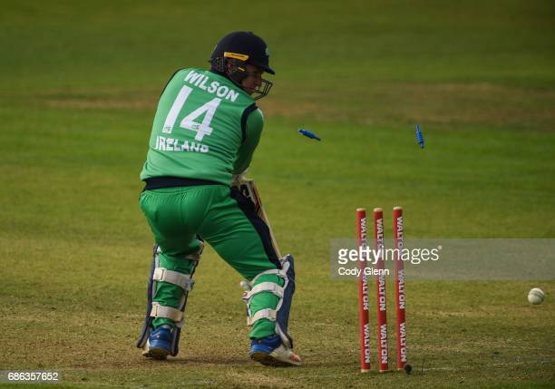 Dublin Ireland 21 May 2017 Gary Wilson of Ireland is bowled by Matt Henry of New Zealand during the One Day International match between Ireland and...