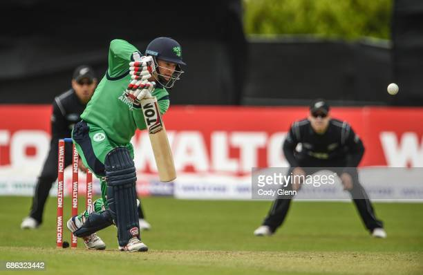 Dublin Ireland 21 May 2017 Ireland captain William Porterfield hits for one run bowled by Adam Milne of New Zealand during the One Day International...