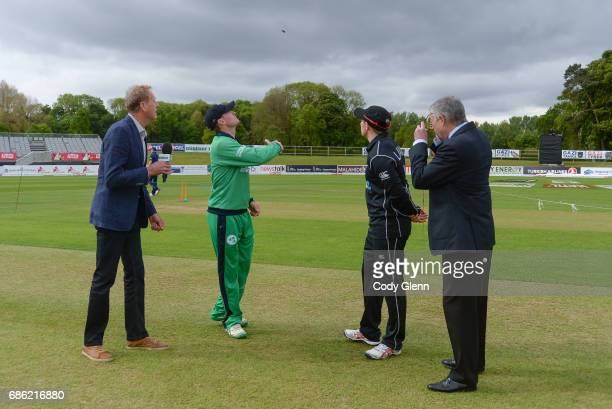 Dublin Ireland 21 May 2017 Ireland captain William Porterfield conducts the opening coin toss alongside New Zealand captain Tom Latham and match...