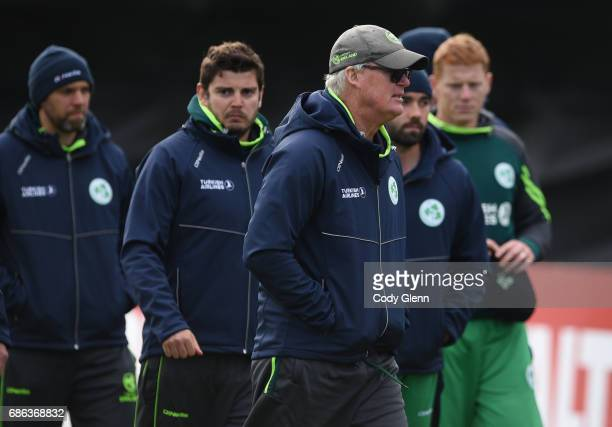 Dublin Ireland 21 May 2017 Ireland coach John Bracewell and the team after their loss during the One Day International match between Ireland and New...