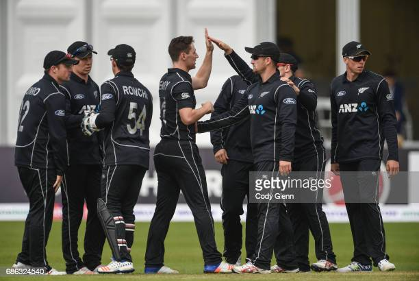 Dublin Ireland 21 May 2017 Matt Henry of New Zealand fourth from left and teammates celebrate the wicket of Paul Stirling of Ireland during the One...
