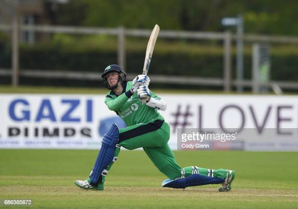 Dublin Ireland 21 May 2017 Peter Chase of Ireland is caught by Adam Milne of New Zealand for the last wicket of the match during the One Day...