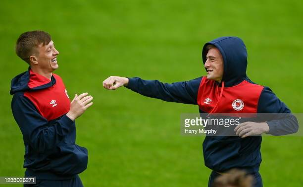 Dublin , Ireland - 21 May 2021; Ben McCormack, right, and Chris Forrester of St Patrick's Athletic before the SSE Airtricity League Premier Division...