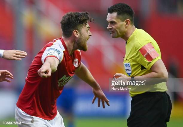 Dublin , Ireland - 21 May 2021; Sam Bone of St Patrick's Athletic protests to referee Ben Connolly after he awards Bohemians a penalty during the SSE...