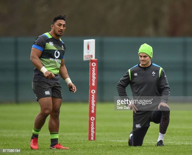 Dublin Ireland 21 November 2017 Bundee Aki left and Jonathan Sexton during Ireland rugby squad training at Carton House in Maynooth Co Kildare